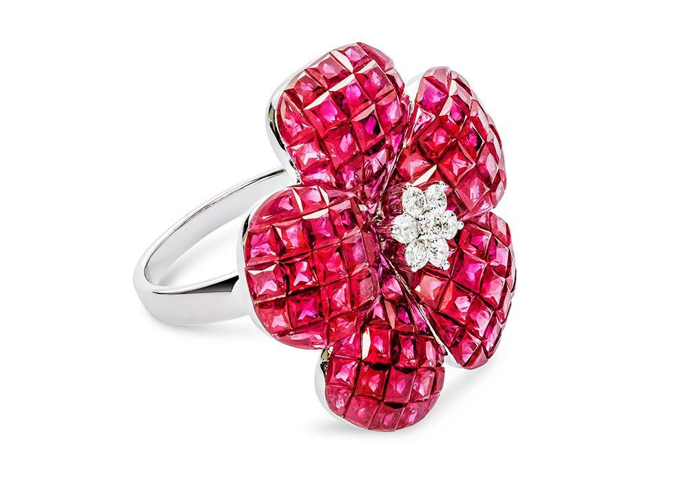 Pink Diamond Flower Style Ring
