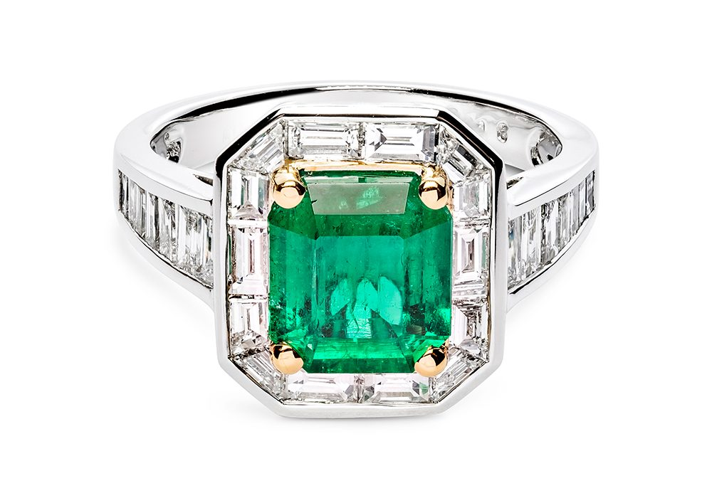 Full Green Diamond Ring Surrounded By Small Diamond Accents