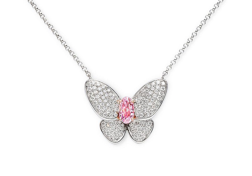 Butterfly pink diamond necklace