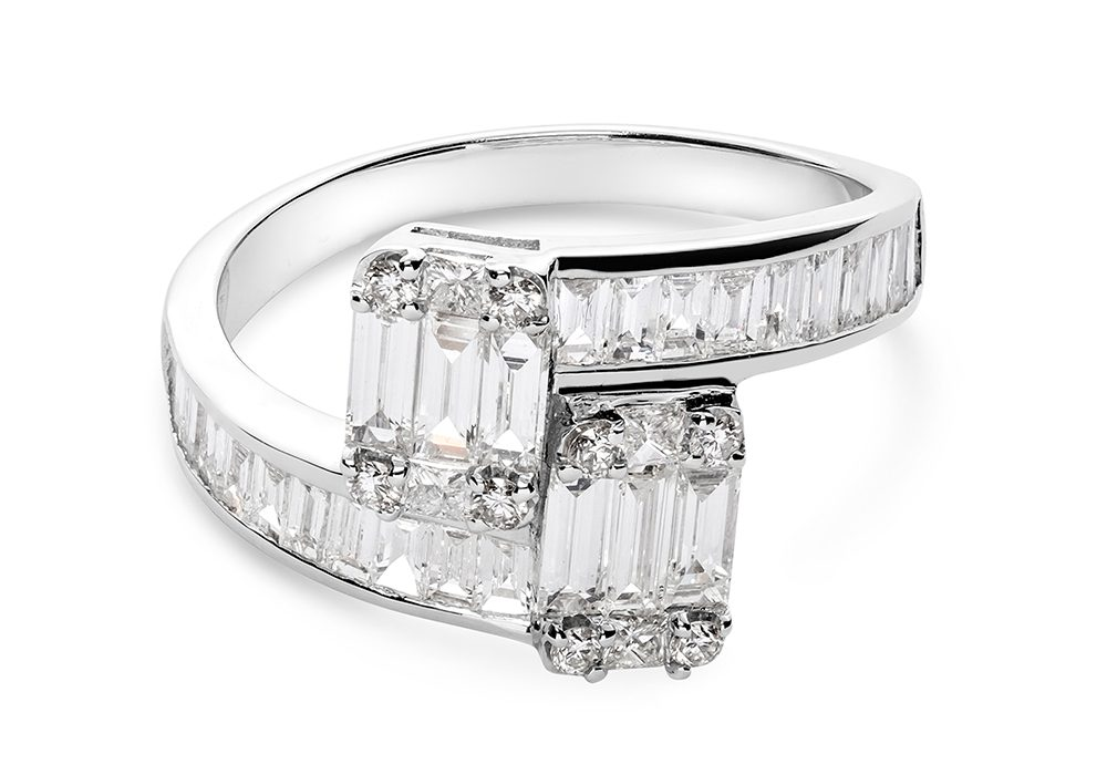 Platinum Engagement Ring With Double Diamond Edges