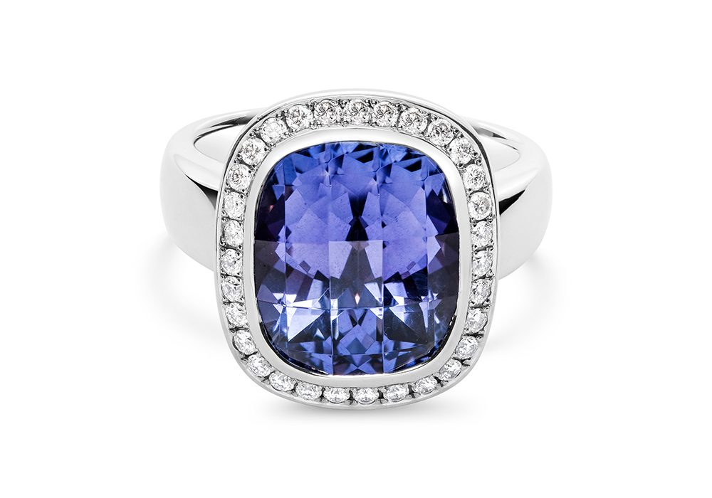Blue Diamond Ring Full Round
