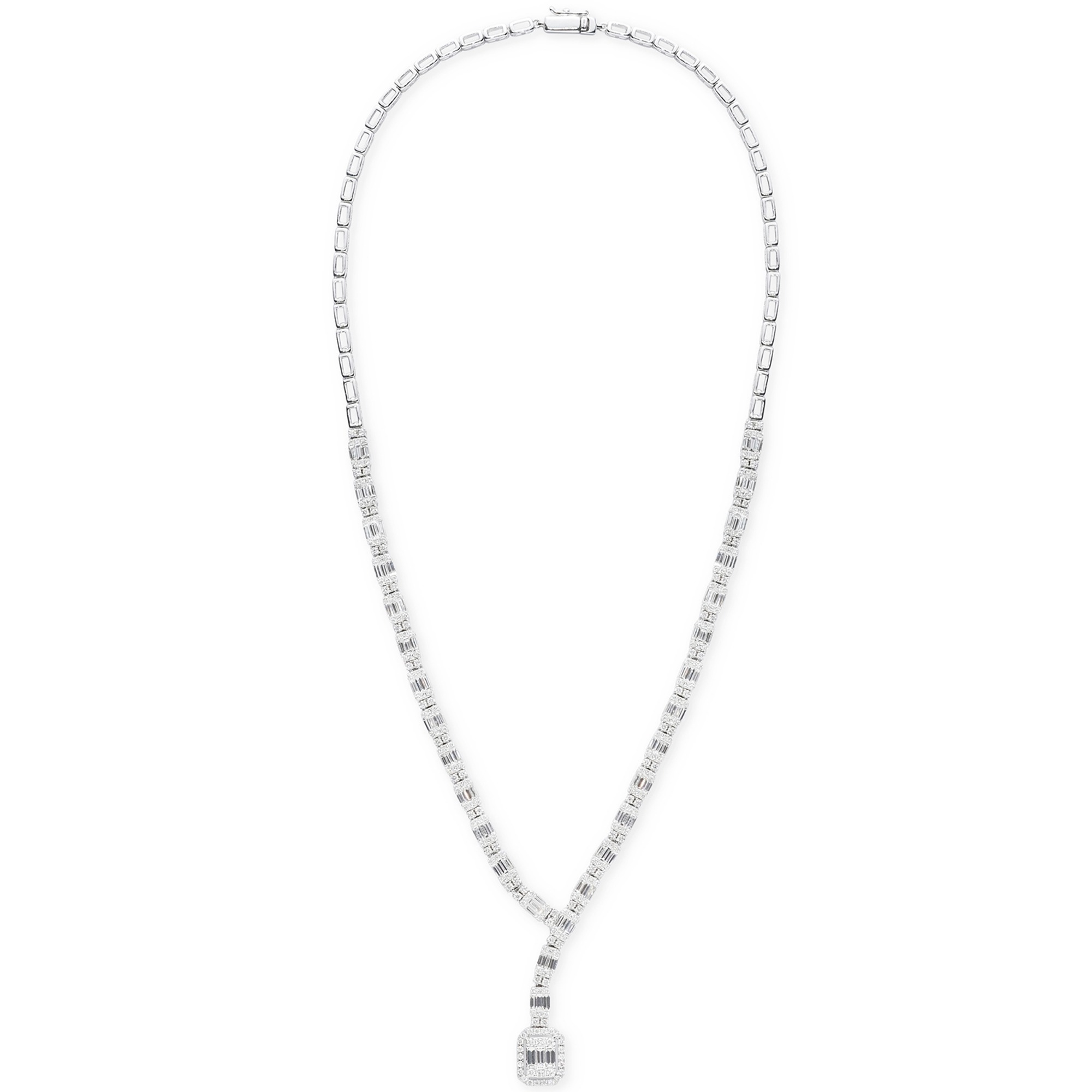 6.35ct baguette and halo diamond necklace 1