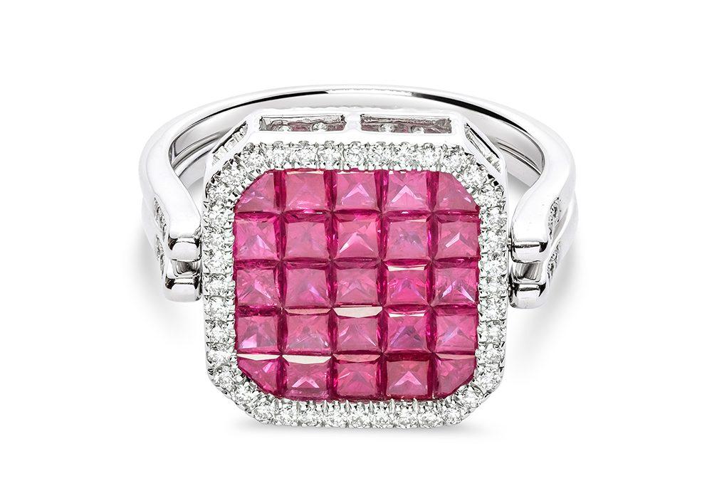 Pink Diamond Square Type Ring