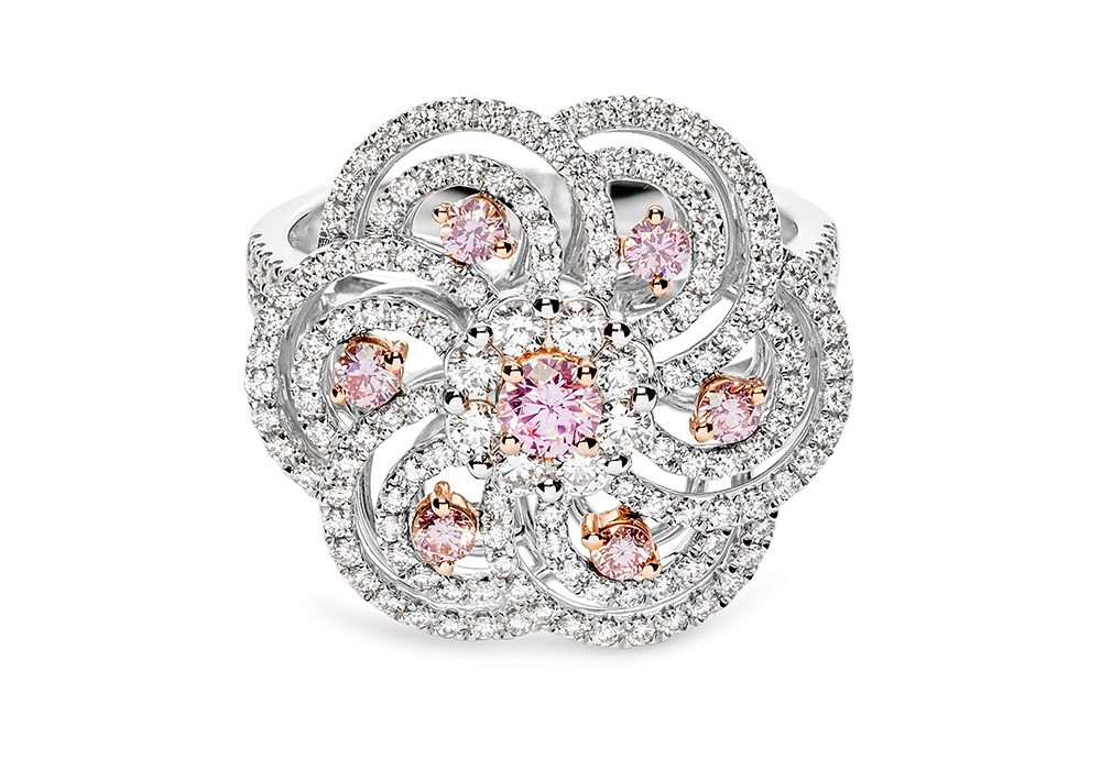Diamond Engagement Ring With Pink Diamond Accents