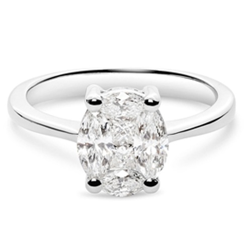 oval cut invisibly set diamond ring