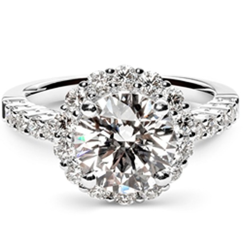brilliant cut diamond engagement ring with halo