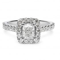 cushion cut diamond engagement ring with halo and diamond shoulders