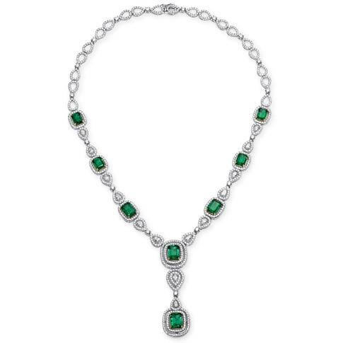 emerald and pear shape diamond necklace
