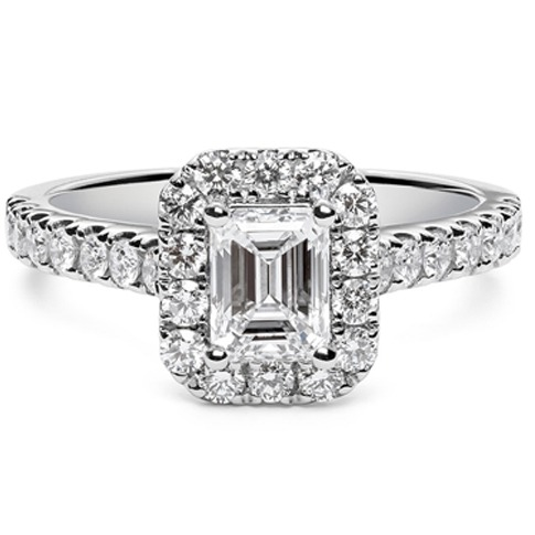 emerald cut diamond engagement ring with halo and diamond shoulders