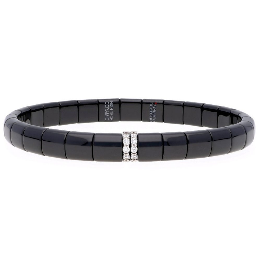 pura black polished ceramic and 2 bars white diamond bracelet