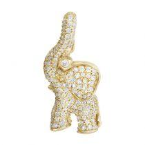 pave elephant charm gold